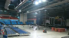 Sceneshifters demount scenery after concert of Legend RetroFM Stock Footage