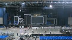 Working scenes dismantle scenery after concert of Legend RetroFM Stock Footage