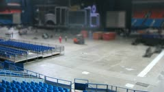 Dark blue sitting stand empty after concert Stock Footage