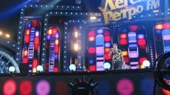 Yury Shatunov sings on concert scene Stock Footage