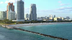 Miami skyline shot from water 3 Stock Footage