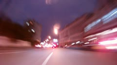 Cars go on wide range highway in downtown Stock Footage