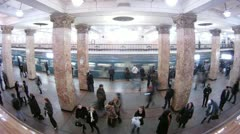 People wait and leave by train in subway at station Komsomolskaya Stock Footage
