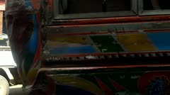 Exquisitely Painted Buses on Streets of Karachi, Pakistan Stock Footage