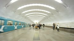Passengers come and leave metro station Perovo Stock Footage