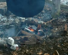 Fire under Cauldron PAL - stock footage