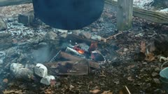 Fire under Cauldron HD - stock footage
