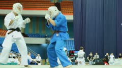 Sportsman Zivic from Russia overturns on tatami sportsman Mirco at World Cup Stock Footage