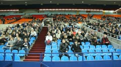Spectators on tribunes support sportsmen at World Cup 2011 KUDO Stock Footage