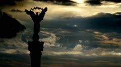 Ukraine Independence monument Kiev sky summoning Stock Footage