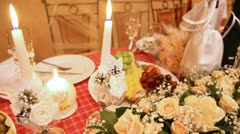 Wedding festive table with champagne fruit flowers and postcard With Wedding Day Stock Footage