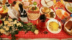 Set of meal, snack and drinks on celebratory wedding table Stock Footage