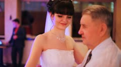 Father dances slow dance with daughter on its wedding Stock Footage