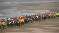 Marathon on the beach, crowd of people, sport, outdoors, race Stock Footage
