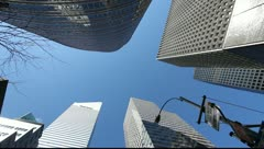 Skyscraper office buildings NYC New York City Manhattan citibank big corporation - stock footage