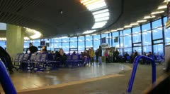 Departure lounge at airport Stock Footage