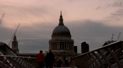 St. Paul's Cathedral, Millennium Bridge Stock Footage