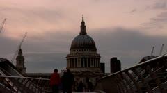 St. Paul's Cathedral, Millennium Bridge - stock footage