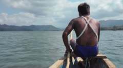 Panama Indiginous Embera Indian Dug Out Canoe Stock Footage