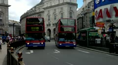 Double Decker Buses, Piccadilly Circus Stock Footage