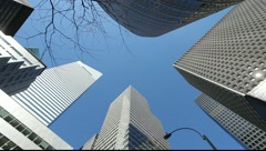 Skyscraper office buildings NYC New York City Manhattan citibank pan 25P PAL Stock Footage