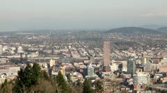 Portland Oregon Downtown Cityscape from Pittock Mansion Stock Footage