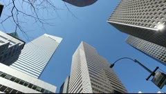 Tall high buildings skyscrapers offic New York City NY citibank Stock Footage