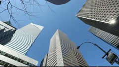 Tall high buildings skyscrapers office New York City NY citibank big corporation Stock Footage