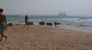 Stock Video Footage of 067# Time Lapse, PEOPLE PLAY MATKOT CAESAREA