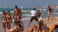 Stock Video Footage of 065# Time lapse, PEOPLE IN CAESAREA BEACH