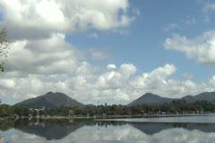 Twin mountain lake Stock Footage