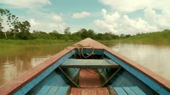 Shipping on River in Rainforest (Amazon, Peru) Stock Footage
