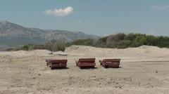 Three ampty sun-beds Stock Footage