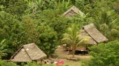 Village In Rainforest from above - stock footage