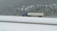 Truck in the winter pan c 011 Stock Footage