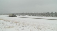 Truck in the winter pan c 08 Stock Footage
