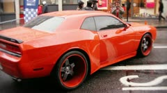 Orange sports car Stock Footage