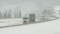 Truck on winter highway 03 - stock footage