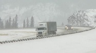 Truck on winter highway 03 Stock Footage