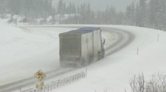 Truck on winter highway 05 Stock Footage