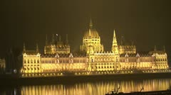 Parliament building at night. Budapest. Stock Footage
