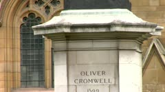 Oliver Cromwell - Statue in front of Palace of Westminster  Stock Footage