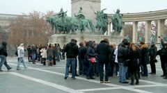 Budapest in the autumn. heroes' Square Stock Footage