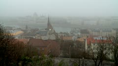 View from Mount Gellert (Buda Castle) on the Danube and Pest Stock Footage