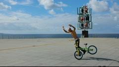 Bicycle biker acrobat extreme cyclist MRL Stock Footage