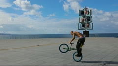 Bicycle biker acrobat extreme cyclist MRL Stock Footage