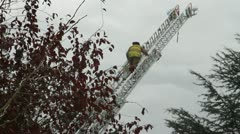 Firefighter on Ladder Stock Footage