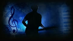 Guitar Man Blue - stock footage
