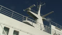Navigation antennas and locator on cruise ship 1 Stock Footage