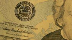 Macro video of a US twenty dollar bill - stock footage